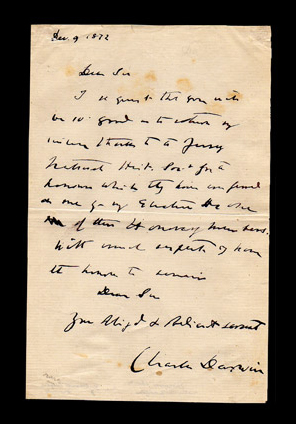 Autograph letter signed by Charles Darwin