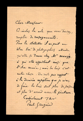 Autograph letter signed by Paul Gauguin
