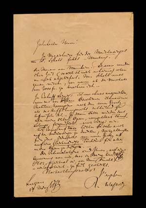 Autograph letter signed by Richard Wagner