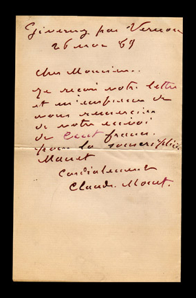autograph letter signed by Monet