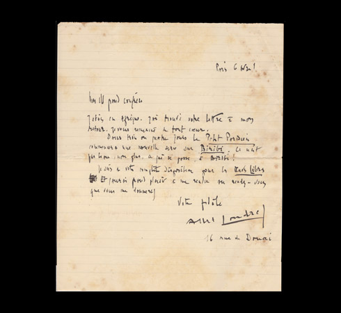 Autograph letter signed by Albert Londres
